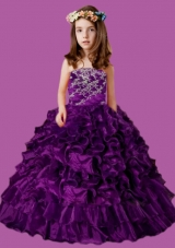 Eggplant Purple Strapless Appliques and Ruffles Little Girl Pageant Dress