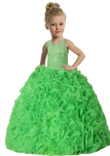 Straps Ball Gown Ruffles Green Beading Little Girl Pageant Dress