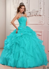 2014 Aqua Blue Ball Gown Strapless Beading Quinceanera Dress with Ruffles