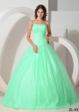 2014 New Style Puffy Strapless Quinceanera Dress With Beading