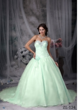2014 Princess Sweetheart Appliques Quinceanera Dresses with Court Train