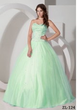 Affordable Ball Gown Beading Apple Green 2014 Quinceanera Dress with Sweetheart