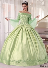 Off The Shoulder Appliques Quincenera Dresses with Long Sleeves