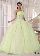 Simple One Shoulder Tulle Puffy Quinceanera Dresses with Beading