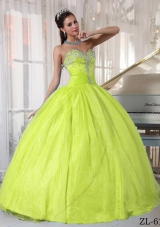 Sweetheart Organza Appliqued Quinceanera Gowns in Yellow Green