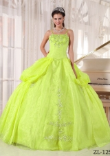 Yellow Green Spaghetti  Straps 2014 Sping Quinceanera Dresses with Appliques