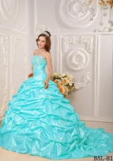 Puffy Strapless Appliques and Beading Quinceanera Dress with Court Train