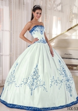 Ball Gown Strapless Appliques Satin White Quinceanera Dresses Gowns