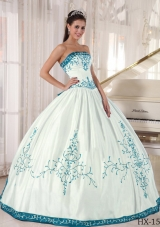 White and Blue Ball Gown Strapless Embroidery 2014 Quinceanera Dress