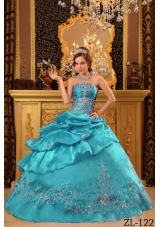 Elegant Teal Ball Gown Strapless Beading Quinceanera Dress with Appliques