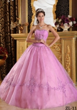 2014 Pink Ball Gown Strapless Floor-length Appliques Quinceanera Dress with Beading