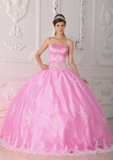 2014 Romantic Pink Ball Gown Strapless Lace Quinceanera Dress with Appliques