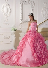 2014 Quinceanera Dress in Hot Pink Ball Gown Chapel Train with Beading