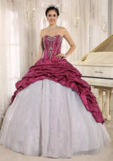 2014 Beautiful Embroidery Sweetheart Whtie and Red Quinceanera Dresses