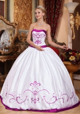 White Puffy Strapless Quinceanera Gowns with Fuchsia Embroidery