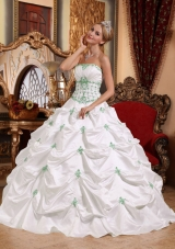 White Strapless Taffeta Green Appliques Quinceanera Gown Dresses
