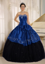 Custom Made Beaded and Embroidery Decorate Black and Blue Quinceanera Dress Wear