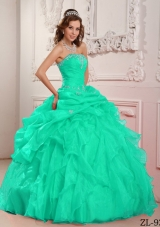 56ffca4e45b Apple Green Strapless Organza Turquoise Quinceanera Dresses with Beading  and Ruffles  US  174.5900