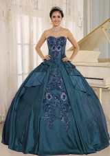 d369587c126 2014 Sweetheart Embroidery Long Quinceanera Gown in Teal  US  178.6900