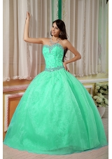 Ball Gown Sweetheart Organza Turquoise Quinceanera Gowns with Beading