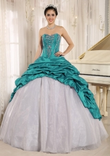 d2a77ffd4f3 Luxurious Teal Quinceanera Dress With Embroidery Sweetheart Pick-ups for  2014  US  195.5800