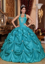 Teal Ball Gown Halter Top Floor-length Taffeta Appliques Quinceanera Dress