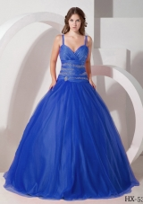 2014 Cute Quinceanera Dresses with Puffy Spaghetti Straps Beading