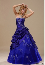 Princess Strapless Embroidery and Hand Made Flowers Quinceanera Gowns for 2014