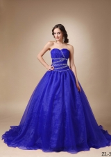 Princess Sweetheart Court Train Beading Quinceanea Dress for 2014