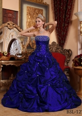 2014 Royal Blue Princess Strapless for Beading Quinceanera Dress with Pick-ups