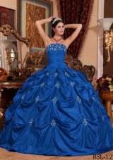 New Style Blue Puffy Strapless with Embroidery Quinceanera Dress for 2014