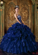 Romantic Dark Blue Puffy Strapless Ruffles Quinceanera Dresses