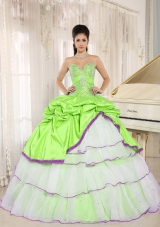 2014 Pretty Sweetheart Beading and Ruffled Layers Sweet 15 Dresses