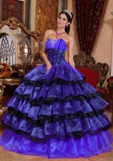 Blue and Black Sweetheart Organza Sweet Sixteen Dresses with Layers