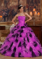 Fuchsia and Black Princess Strapless Organza Quinceanera Gowns with Ruffles