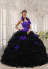 Halter Purple and Black Quinceanera Dress with Hand Made Flowers and Ruffles