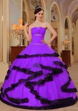 Organza Purple and Black Quinceanera Gown Dresses with Beading