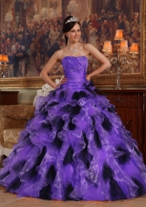 Princess Strapless Organza Purple and Black Quinceanera Dress