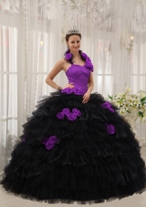 Purple and Black Halter Organza Hand Made Flowers Sweet 16 Dresses