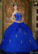 Royal Blue Puffy Sweetheart for 2014 Appliques Quinceanera Dress with Beading