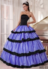 StraplessTaffeta Purple and Black Quinces Dresses with Layers