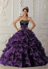 Sweetheart Black and Purple Quinceanera Dress with Beading and Ruffles