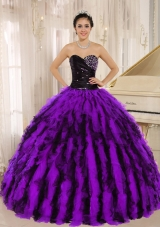 Beaded and Ruffles Sweetheart For Purple and Black Quinceanera Gowns