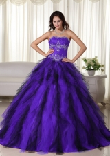 Strapless Purple and Black Quinceaneras Dress with Appliques