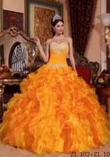 Ruffled Sweetheart Organza Appliques and Beading Quinceanera Dress in Orange