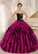 Beaded and Ruffled Sweetheart For Pink and Black Quinceaneras Dresses