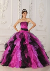 New Style Appliques and Organza Ruffles Pink and Black Quinceanera Dresses