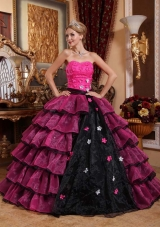 Strapless Organza Pink and Black Quinceanera Gowns Dresses with Appliques and Layers