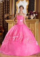 a4c26b26b48e New Style Strapless Appliques Organza Rose Pink Quinceanera Gowns: US  $219.9900