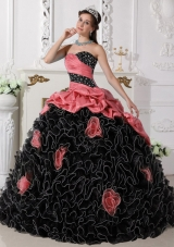 2014 Puffy Sweetheart Red and Black Quinceanera Dresses with Beading